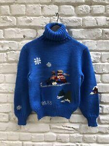 Rare-Find-RALPH-LAUREN-VTG-1983-Ski-Winter-Scene-Wool-Sweater-Great-Britain-M