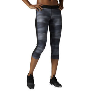fce239f25e1b Details about Women's 3/4 Reebok Workout Printed Leggings Training Wicking  Sports Fitness