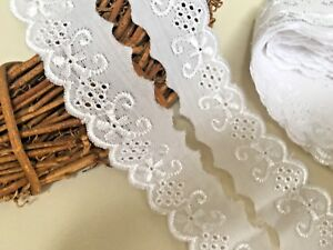 """Lace Flat Broderie Anglaise 50mm 5cm 2/"""" White Cream /& Black  Various Lengths"""
