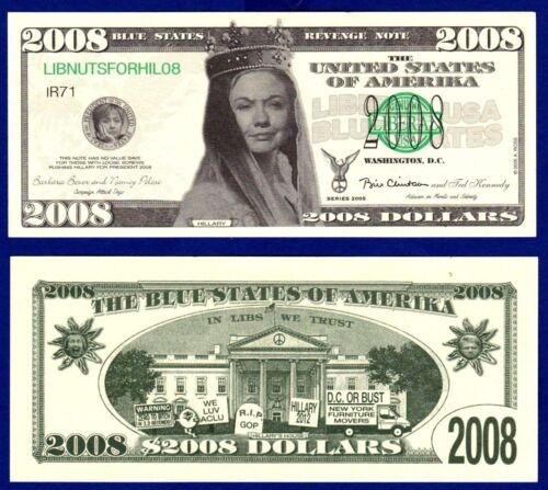 Presidential 2-Hillary Clinton 2008 Dollar Bills Political Collectible C1