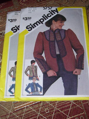 QUILTED JACKET PATTERN  6-8 or 10-16 FF 3 STYLE 1982 SIMPLICITY #5757-LADIES