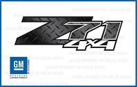 Set Of 2: 07 <-> 13 Gmc Sierra Z71 4x4 Decals - Diamond Plate Black - Dpfblkfw
