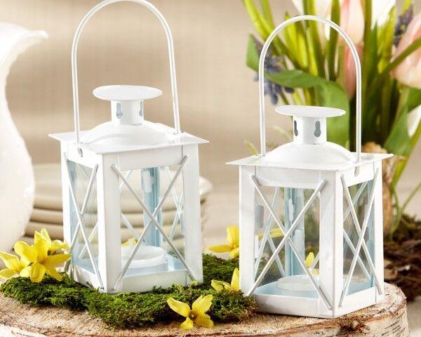 48 Blanc Lumineux Mini lanterne Tea Light Holder mariage faveurs Table Decor