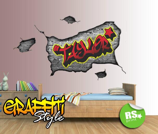 Personalizzato Wall Art Graffiti Adesivo Decalcomania Camera Camera Camera Da Letto Grigio Mattone f3655b
