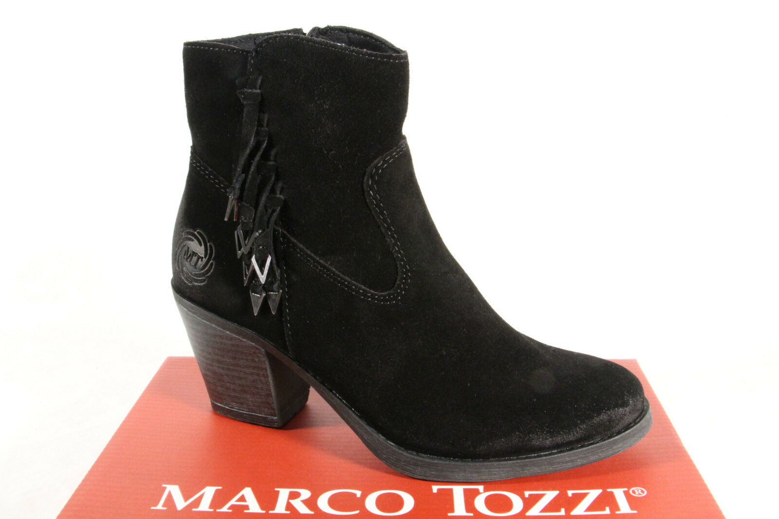 Marco Tozzi Damen Stiefel Stiefeletten 25375  Stiefel Echtleder schwarz  NEU
