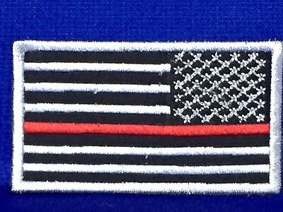 USA American Flag Iron On Patch Red White Blue Gold Border Police Fireman Biker