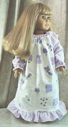 """Doll Clothes Made 2 Fit American Girl 18/"""" inch Nightgown Flannel Lilac Flowers"""