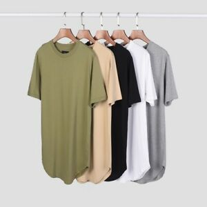 Men-039-s-Essential-T-Shirts-Hypebeast-Streetwear-Style-Oversized-Curved-Hem-Tee
