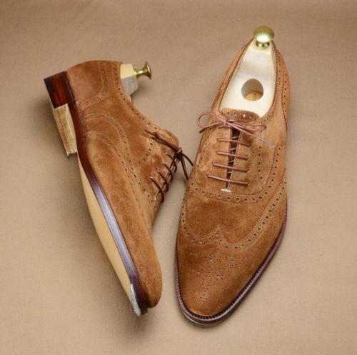 Mens  Handmade Sue Leather Tan scarpe Formal Marronee Dress Leather Sole scarpe  outlet online