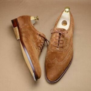 Mens-Handmade-Suede-Leather-Tan-Shoes-Formal-Brown-Dress-Leather-Sole-Shoes