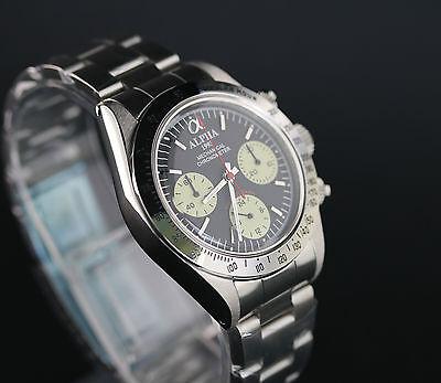 Alpha Mechanical chronograph SG2903 Watch Black Dial With Glass Display Back