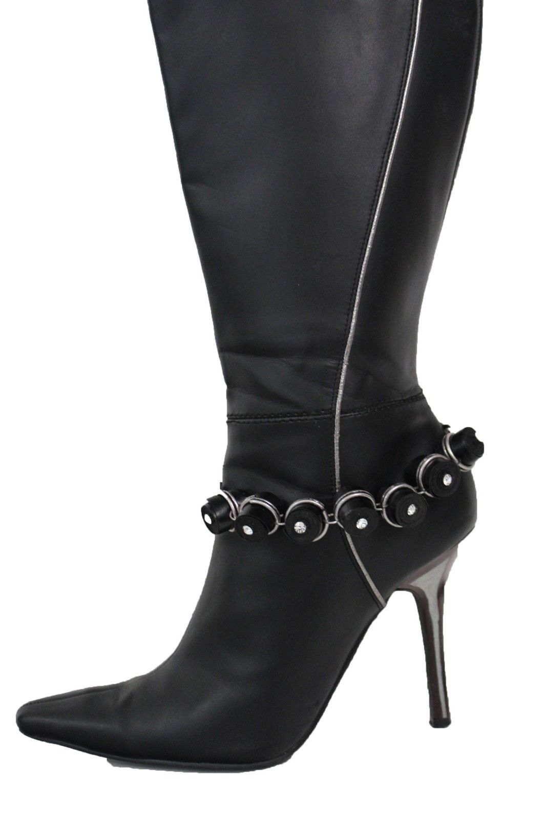 Women Silver Metal Chains Boot Bracelet High Heel Shoe Charm Bling Black Stripes