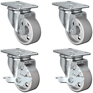 """3/"""" w// Brake 8 All Black Metal Swivel Plate Caster Wheels w// Brake Heavy Duty"""