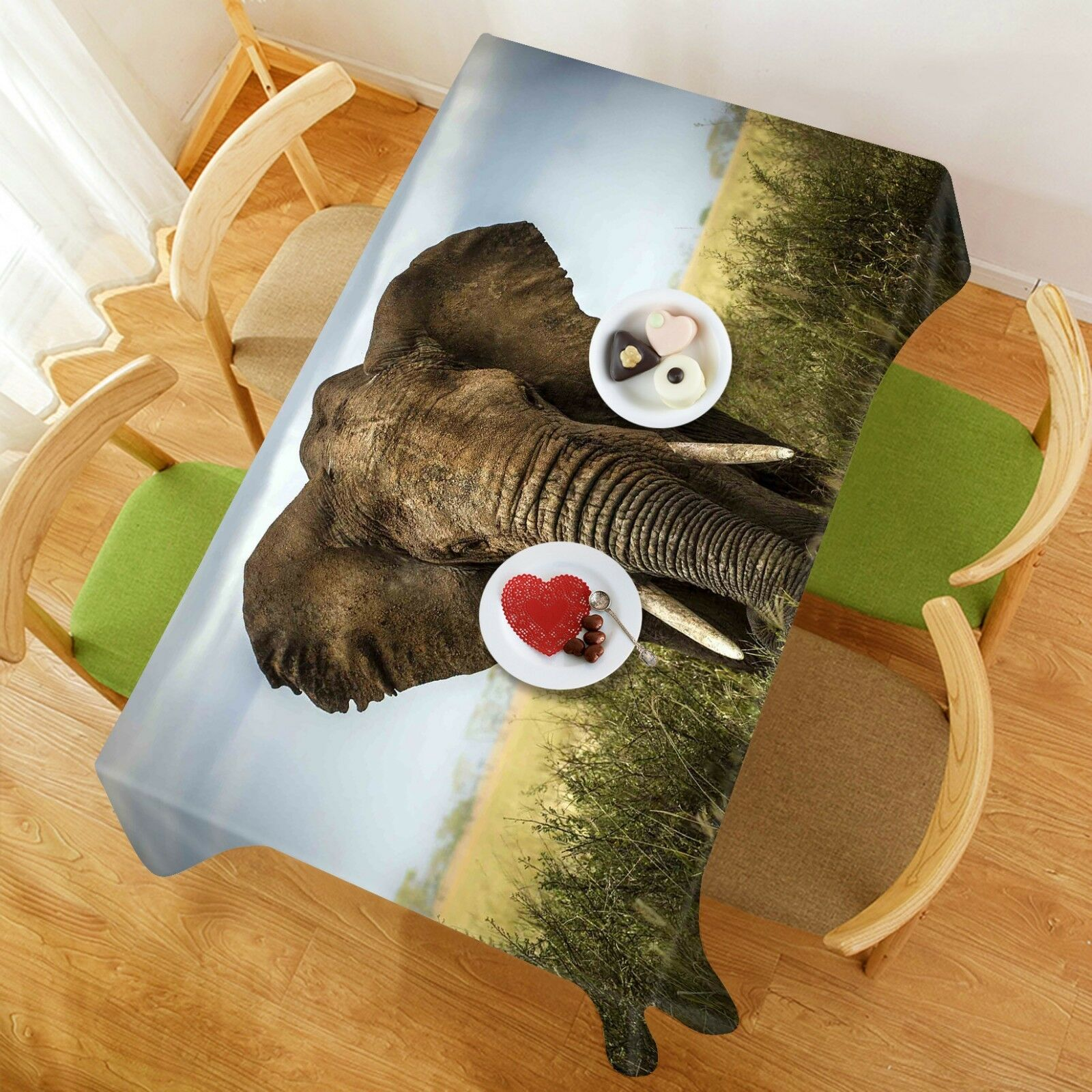 3D Elephant 155 Tablecloth Table Cover Cloth Birthday Party Event AJ WALLPAPER