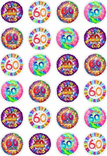 24 60th Birthday Cupcake Fairy Cake Toppers Edible Rice Wafer Paper Decorations
