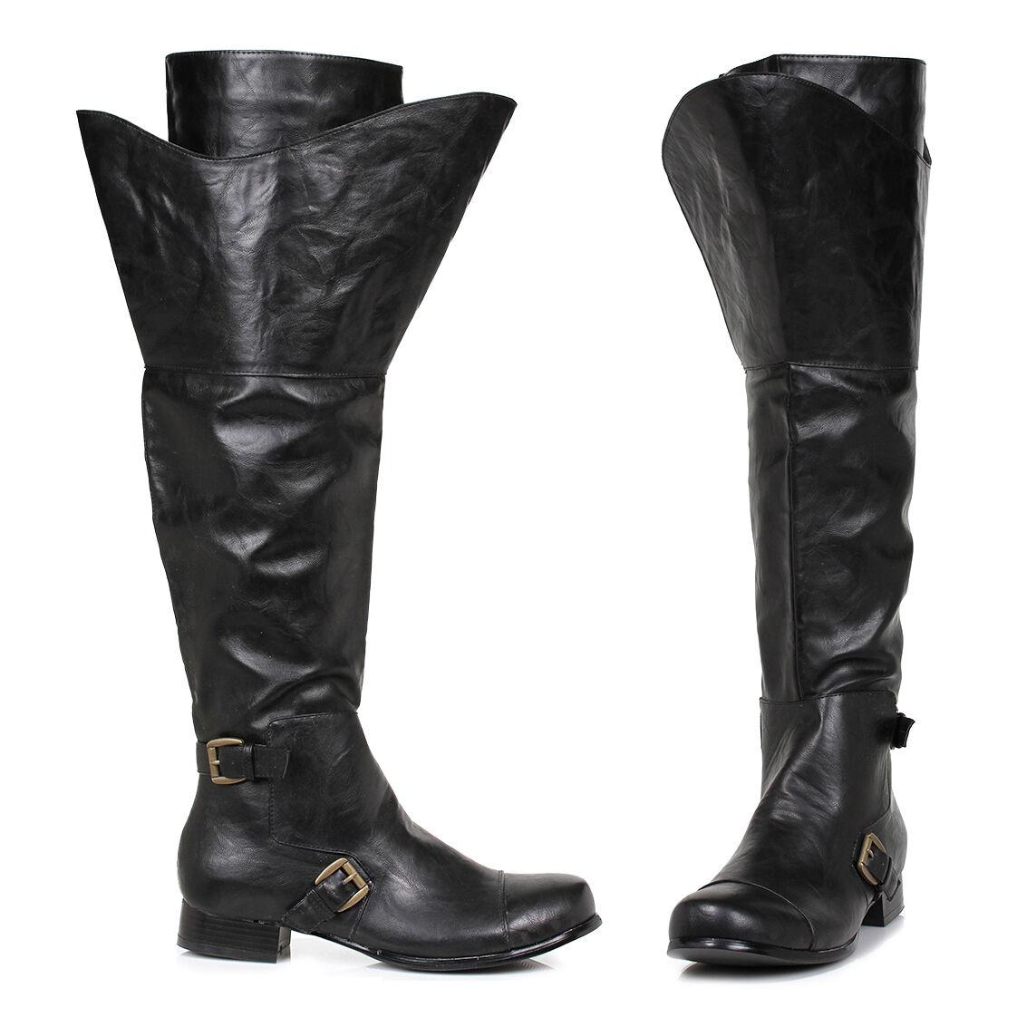 Ellie 121-TRISTIN botas Negro de Hombre Zapatos Boca Ancha hasta la Rodilla
