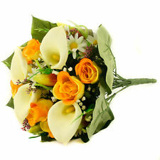 Artificial silk mixed flowers bouquet Calla Lilies Roses 40cm Yellow