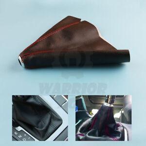 Black-PVC-Red-Stitch-Manual-Auto-Car-Gear-Shift-Knob-Shifter-Boot-Cover-Cap