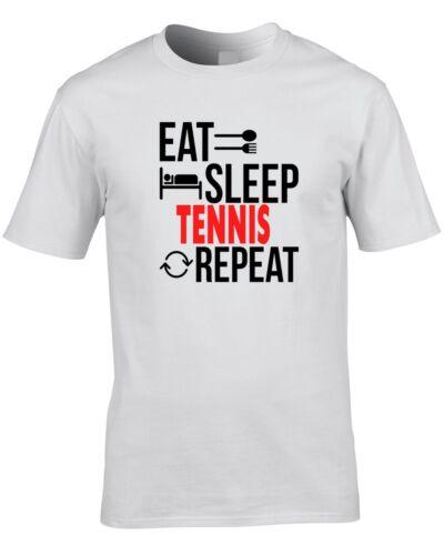 Tenis Camiseta Comer Dormir repetir Idea de Regalo Presente Para hombre jugador entrenador Tren