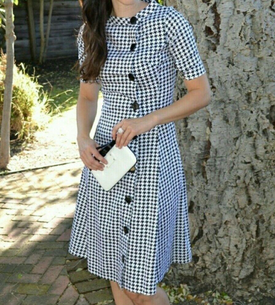 Vintage Inspired Rebekah McKinney Houndstooth Shabby Apple Button Dress XXS L XL