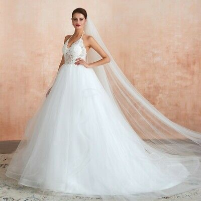 Vintage Halter White Ivory Lace Sequin Wedding Dress Tulle Bridal Gown Open Back Ebay