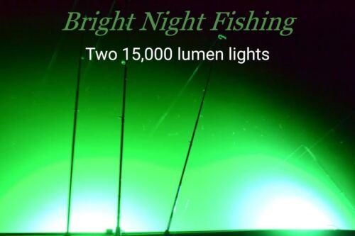 Underwater Fishing Light 300 LED Green Crappie Submersible 15,000 lumens night