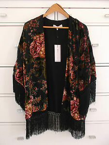 31ee6b19c38 Image is loading ZARA-Fringed-Devore-Velvet-Floral-Printed-Kimono-Jacket-