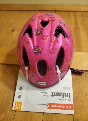 Schwinn Girls Classic Infant Bike Helmet Adjustable Pink Butterflies Age 1-3 New