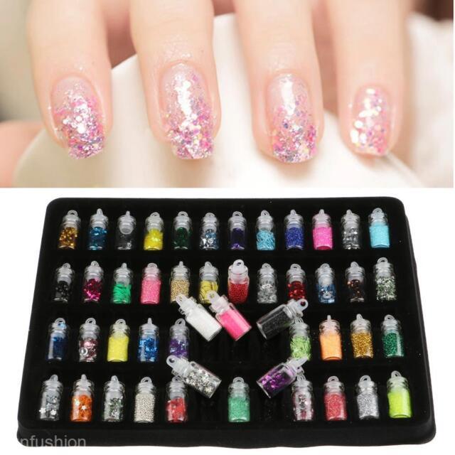 48pcs Nail Art Glitter Kit Nails Manicure Design Painting Dotting ...