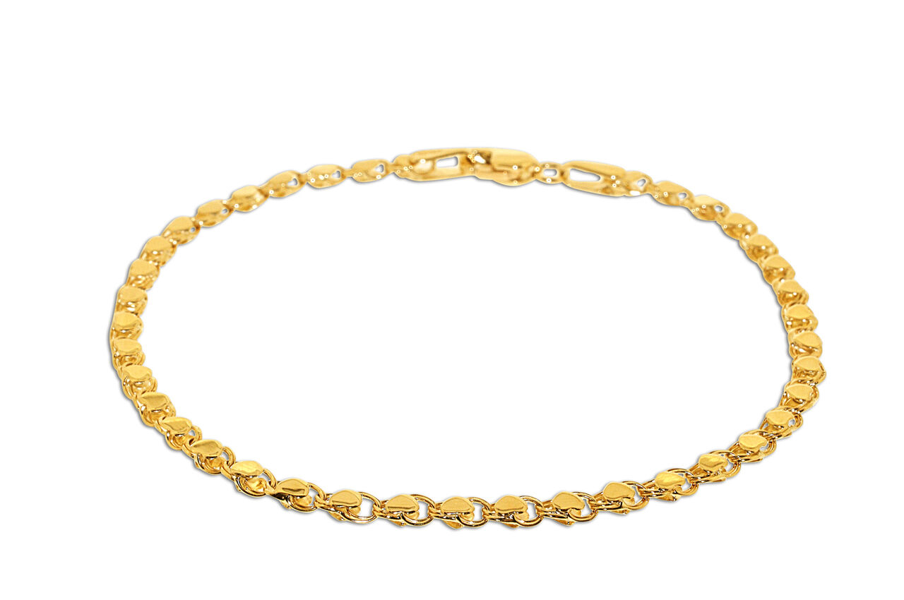 14K Yellow gold 7  Hearts Bracelet