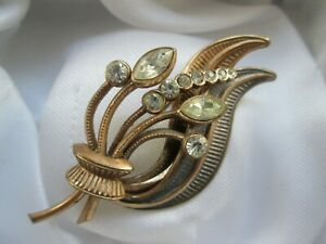 Vintage-Jewellery-Gold-Silver-Tone-Clear-Glass-Flower-Bouquet-Spray-Brooch-Pin