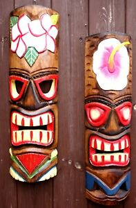 Wooden Wall Mask Wall Mask Tiki Hawaii Style in 50/cm