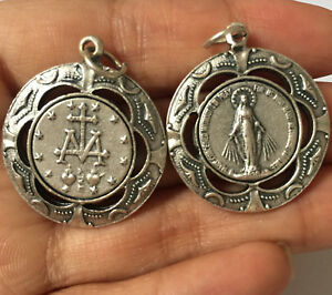 Lovely silver catholic mary magdalene virgin medal rosary pendant image is loading lovely silver catholic mary magdalene virgin medal rosary mozeypictures Choice Image