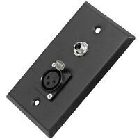 Black Stainless Steel Wall Plate - One 1/4 Ts Mono Jack And One Xlr Female on sale