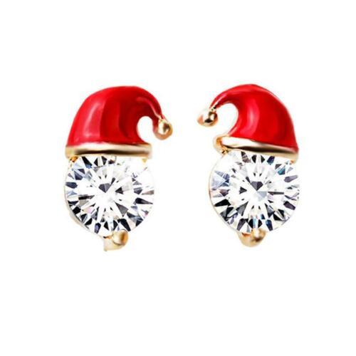 Weihnachten Schneemann Hut Ohrringe Zirkonia Diamant Ohrstecker Damen Schmuck C#