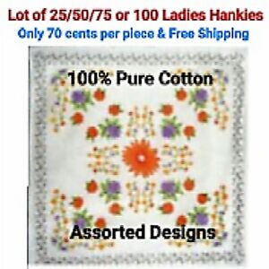 Lot-of-25-50-75-or-100-Ladies-Handkerchiefs-Women-039-s-Girls-Hanky-Cotton-Assorted