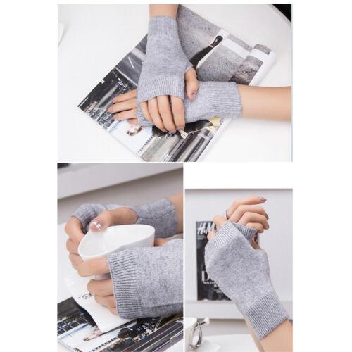 2PC Women Girl Cashmere Fingerless Warm Winter Gloves Hand Wrist Warmer Mitten R