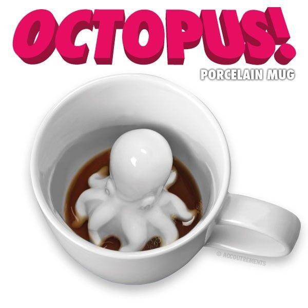 Octopus Porcelain Mug White Surprise Attack Coffee Tea Hot Chocolate Cup Gag