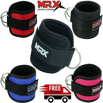 MRX Ankle D Ring Strap Thigh Pulley for Weight Lifting Padded Anklet Cuff Gym Straps
