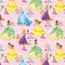Disney Princess Listen To Your Heart 100% Cotton Fabric by the Yard