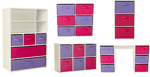 Image Is Loading Kids Storage Unit Canvas Drawers Children Bedroom Bookcase