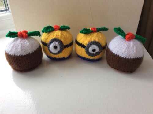 Minions and   Christmas Pudding cover Chocolate orange  knitting pattern only