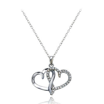 Sterling Silver 1/4ct Diamond Double Hearts Necklace