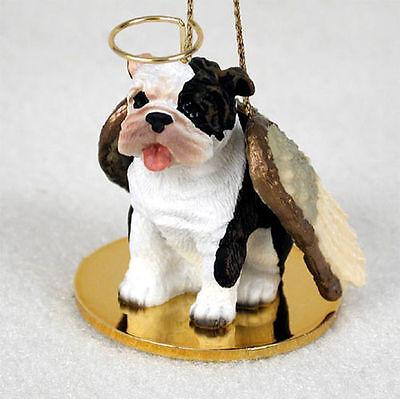 Bulldog Dog Figurine Angel Statue Hand Painted Brindle