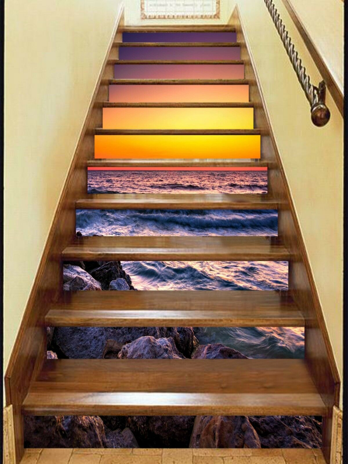 3D River Sunset 2 Stair Risers Decoration Photo Mural Vinyl Decal Wallpaper CA