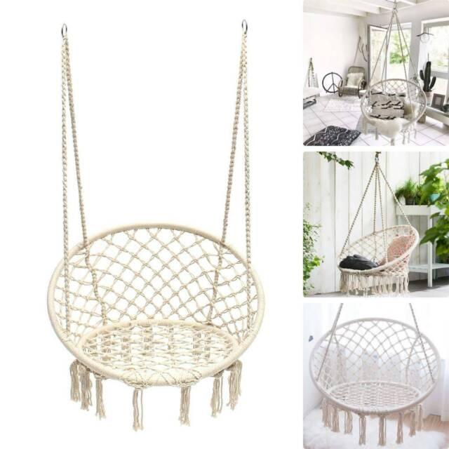 Indoor Outdoor Hammock Chair Macrame Cotton Swing Handmade Casual