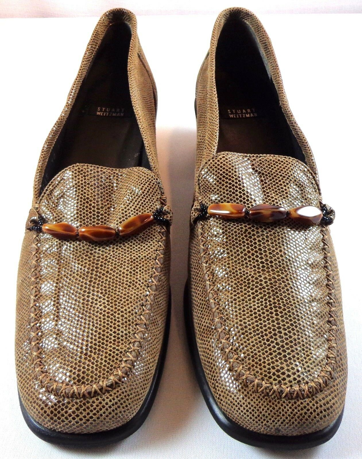Stuart Weitzman Pumps Womens Brown Animal Print Slip On shoes Size 10 AA