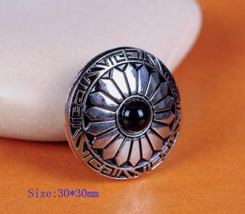 10X 30 mm Sun Fleur Noir Perle Ruban Vis Arrière Selle Leathercraft Conchos
