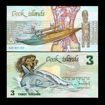 P#3 3 dollars 1987 Cook islands Unc