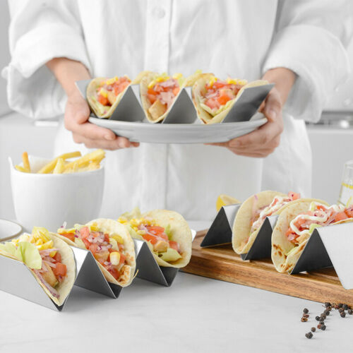Details about  /1×Stainless Steel Taco Holder Stand Safe Rack Tray for Dishwasher Oven Save